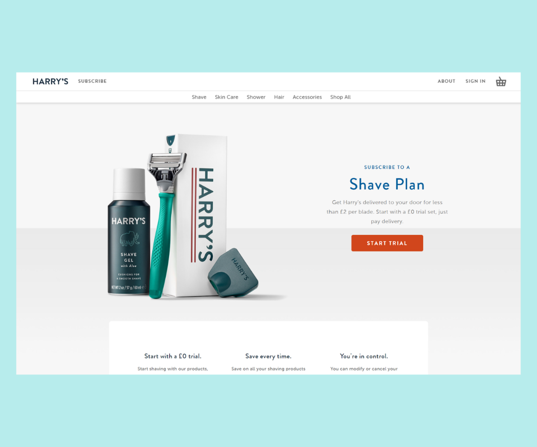 Shopify landing page example Harry's